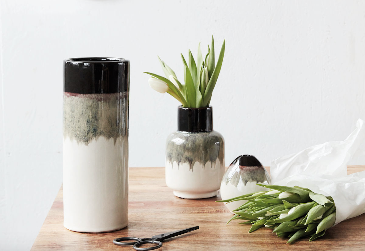 house doctor vasen schwarz wei die pampi. Black Bedroom Furniture Sets. Home Design Ideas